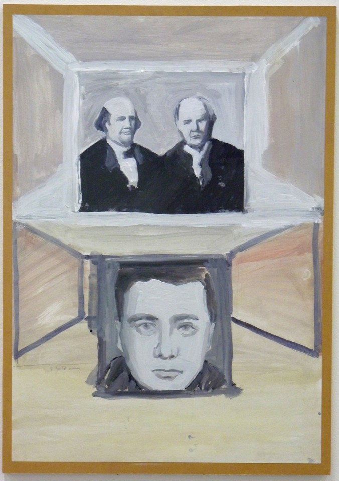 Untitled (2 Bald Men), 2013 (acrylic and emulsion on paper mounted on board, 60x43cm)